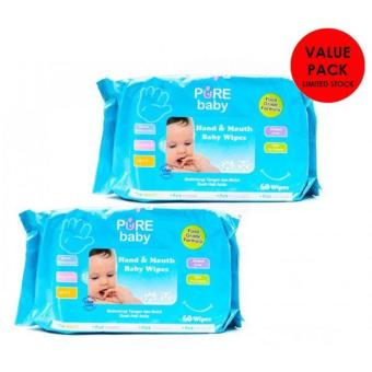 Pure Baby Hand & Mouth Wipes 60's Aloe Vera - Value Pack Buy 1Get 1 Free
