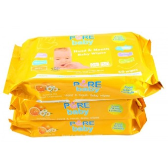 Pure Baby Hand & Mouth Wipes 60's Orange Oil Buy