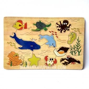 Mainan Kayu Pintar Puzzle Kayu Binatang Laut