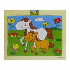 Puzzle Kayu Mini Animasi Kuda / Mainan Edukatif Anak Puzzle BongkarPasan