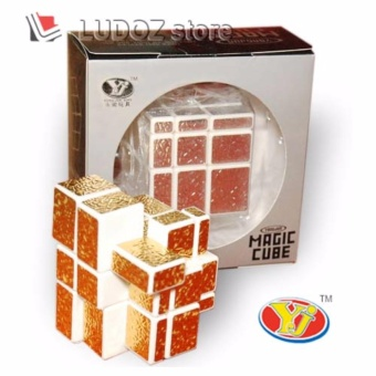 Rubik MIRROR 3x3 White Base Stiker GOLD Texture Kulit JERUK, ORI Yong Jun 3x3x3 Magic