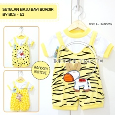Setelan Bayi Bordir/Baju Bayi Bordir/Baju Setelan Bayi/Baju Setelan Bayi Bordir BCS-51/Yellow