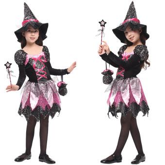 Sihir Halloween anak penyihir gadis gaun putri