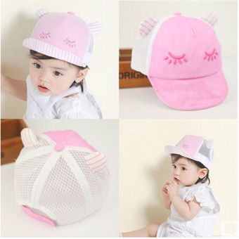Summer Style Baby Hat infant Caps Letter Children Baseball Caps Boys & Girls Peaked Hats Sun Hats (3-24months)pink-eyelash (Intl)
