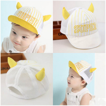 Summer Style Baby Hat infant Caps Letter Children Baseball CapsBoys & Girls Peaked Hats Sun Hats (3-24months)yellow-Ox horn(Intl)