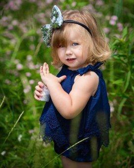 ... Galeri Gambar Super Lucu bayi Girls renda Decor baju monyet Sleeveless Fashion indah Sablon Jumpsuit blue