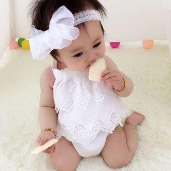 Super Lucu bayi Girls renda Decor baju monyet Sleeveless Fashion indah Sablon Jumpsuit - white