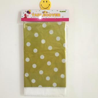 Table Cover / Taplak Meja Plastik Gold Polkadot