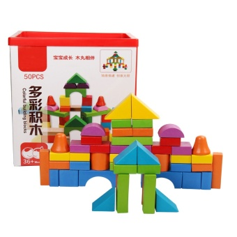 The new style of children's wooden toys 50 pieces mutilcolor Building blocks puzzles early childhood toys hot sale - intl