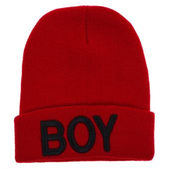 Balita Anak Bayi Perempuan Wol Rajutan Topi Tengkorak (Merah Hitam)