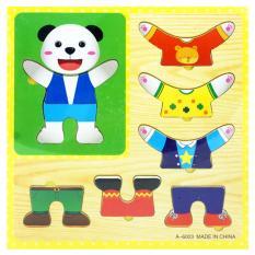 TSH Mainan Edukasi Puzzle Hewan Cowo Ganti Baju 3D   Jigsaw kayu -Multi Colour