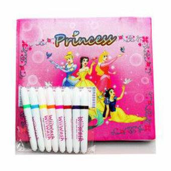 Crayon Titi 55 Warna. Wiiwash Washable Book Set Buku Gambar Bisa Dicuci - Princess