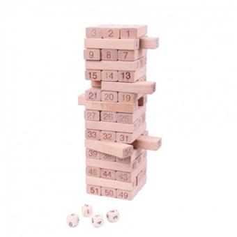 Wooden Toy 51 pieces Digital Jenga Multiplayer Game Folds HighTumbling Tower Classic Stacking game Child parent Game Baby kidsToy
