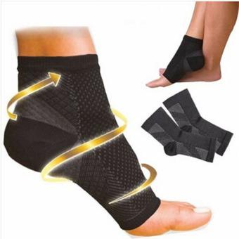 1 pasang kaki lengan Plantar Fasciitis kompresi kaus kaki hitamsakit pembengkakan pergelangan kaki nyeri tumit dari kaki sakit -International
