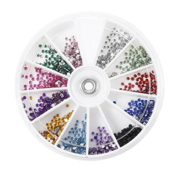 12 Color Acrylic Nail Art Tips DIY Decoration Crystal Glitter Rhinestones Wheel - intl