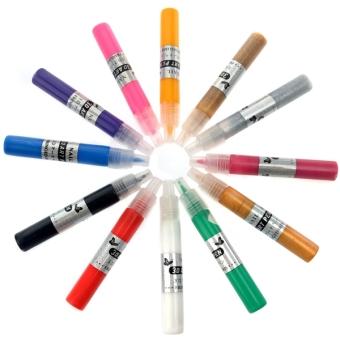 12 Colors UV Gel Acrylic Tips 3D Nail Art DIY Painting Polish PenSet - 2 ...