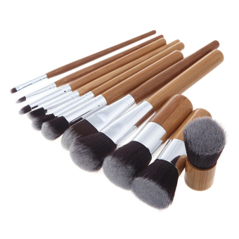 12 Piece Makeup Brush Set Professional Bamboo Handle PremiumSynthetic Kabuki Foundation Blending Blush Concealer Eye FaceLiquid Powder Cream Cosmetics Brushes Kit With Bag