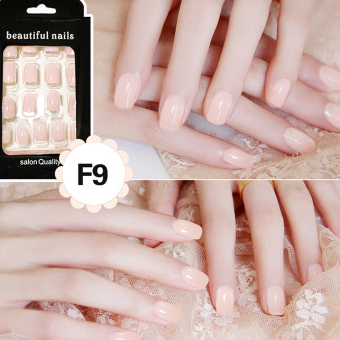 24 Buah French Nail Art Kuku Palsu Akrilik Tips Lengkap