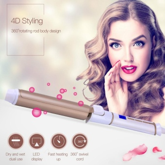 25mm Tourmaline Ceramic Hair Curling Iron Wand Fast Heating Hair Curler Curling tong Styling Tool with LED Display - intl