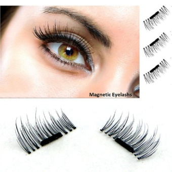 3D Magnetic Reusable Easy Handmade Eyelashes Natural Eye Lashes Extension Handmade 4 Pcs/1 Pair in box - intl