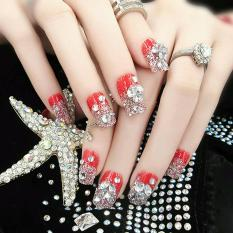3D RED - wedding fake nails 3d red rhinestone