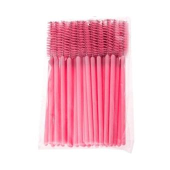 50 Pcs Sekali Pakai Idep Sikat Maskara Wands Aplikator Riasan Alat (Merah Muda)