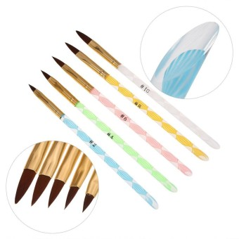 Acrylic 5pcs Handle Nail Art UV Gel Carving Pen Liquid Powder Brush Set Kit - intl