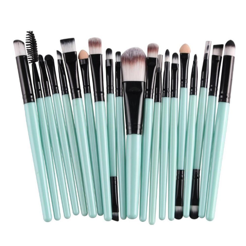 Ai Home 20 buah set kuas Makeup kosmetik kuas Eyeshadow Kit profesional ( hitam + hijau