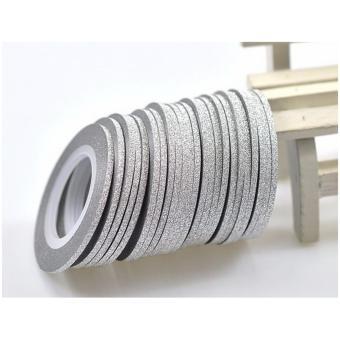 Anneui - Glitter Stripping Nail Tape Gold Dan Silver Nail Art Sticker Kuku - Silver