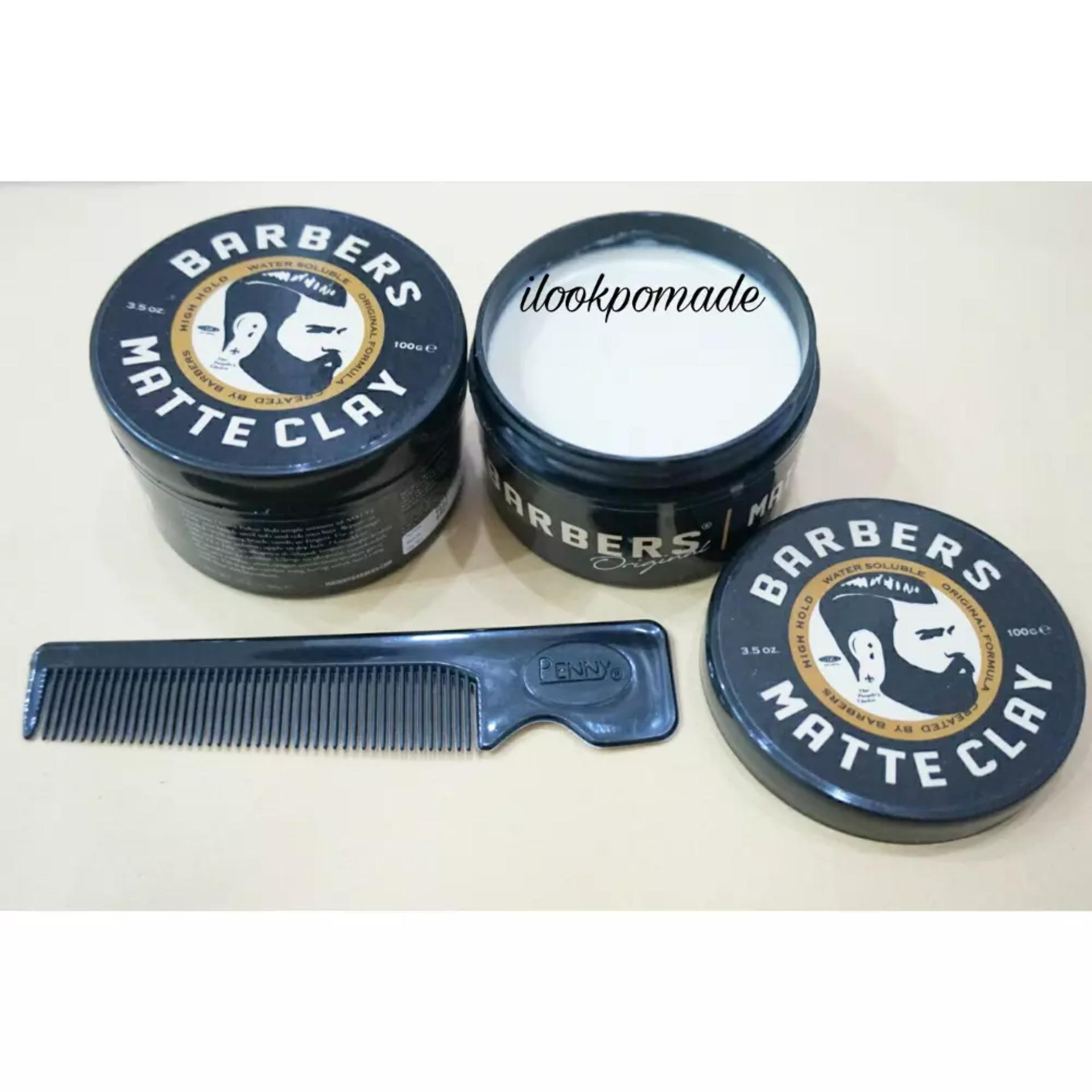 BARBERS POMADE MATTE CLAY MATT WATERBASED 3.5 Oz STRONG HOLD