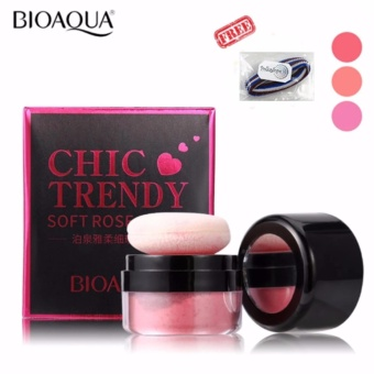 Bioaqua Chic Trendy Soft Rose Blush On Powder - Perona Pipi - 4gr + Free Polkadope Ikat Rambut - 1 Pcs