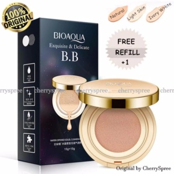 Bioaqua Exquisite and Delicate BB Cream Air Cushion Pack Gold Case SPF 50++ Foundation Make Up Wajah Bersih Free Refill - Ivory White