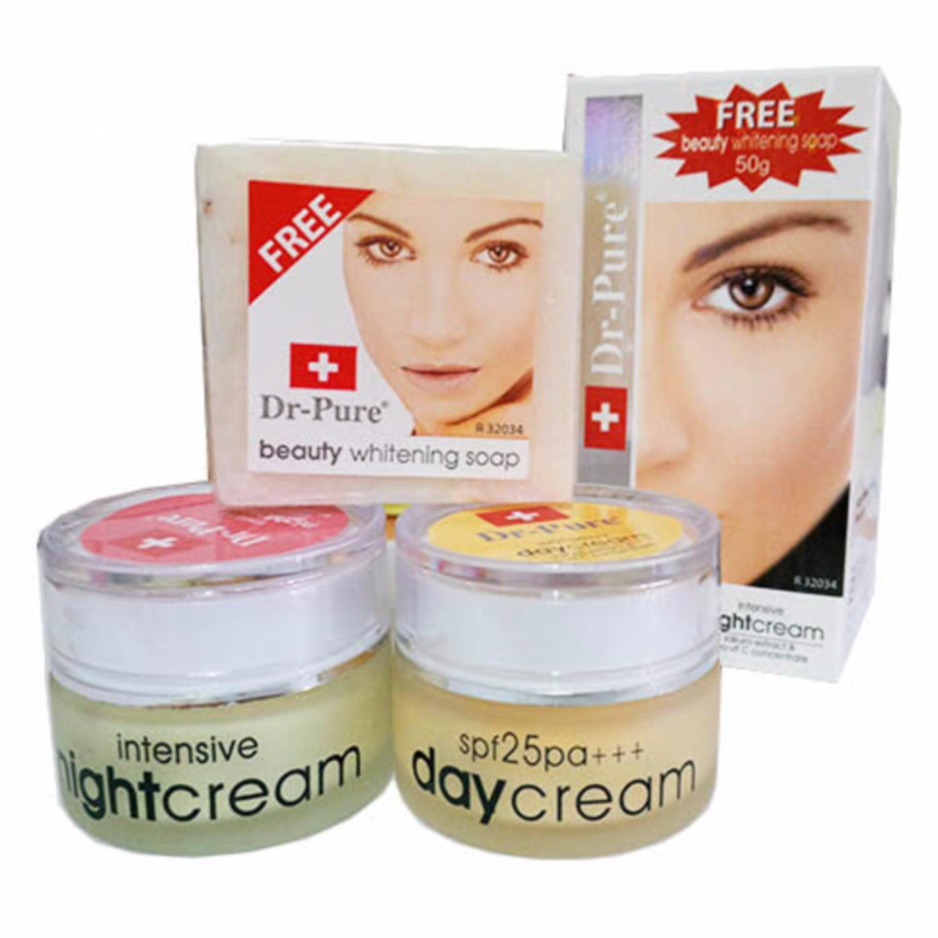 dr Pure Paket Cream whitening siang dan malam Original BPOM - Plus sabun Whithening dan Serum