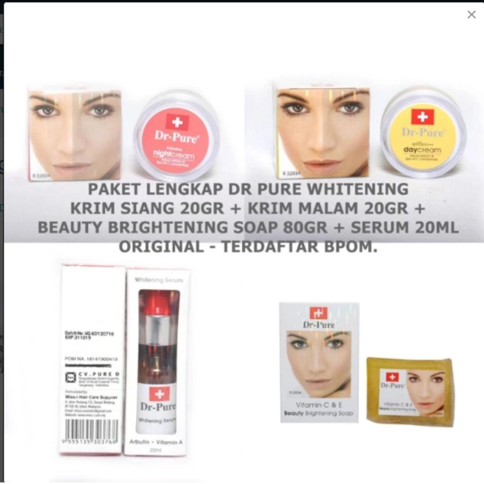 Dr Pure Paket Cream+Brightening Soap+Serum Original Terdaftar BPOM - 4 Item Paket