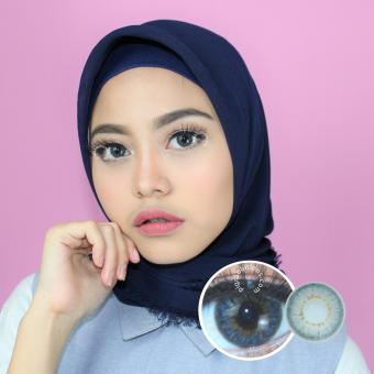 Dreamcolor1 Sky Grey Softlens Minus 0.00 (Normal) + Gratis Lenscase