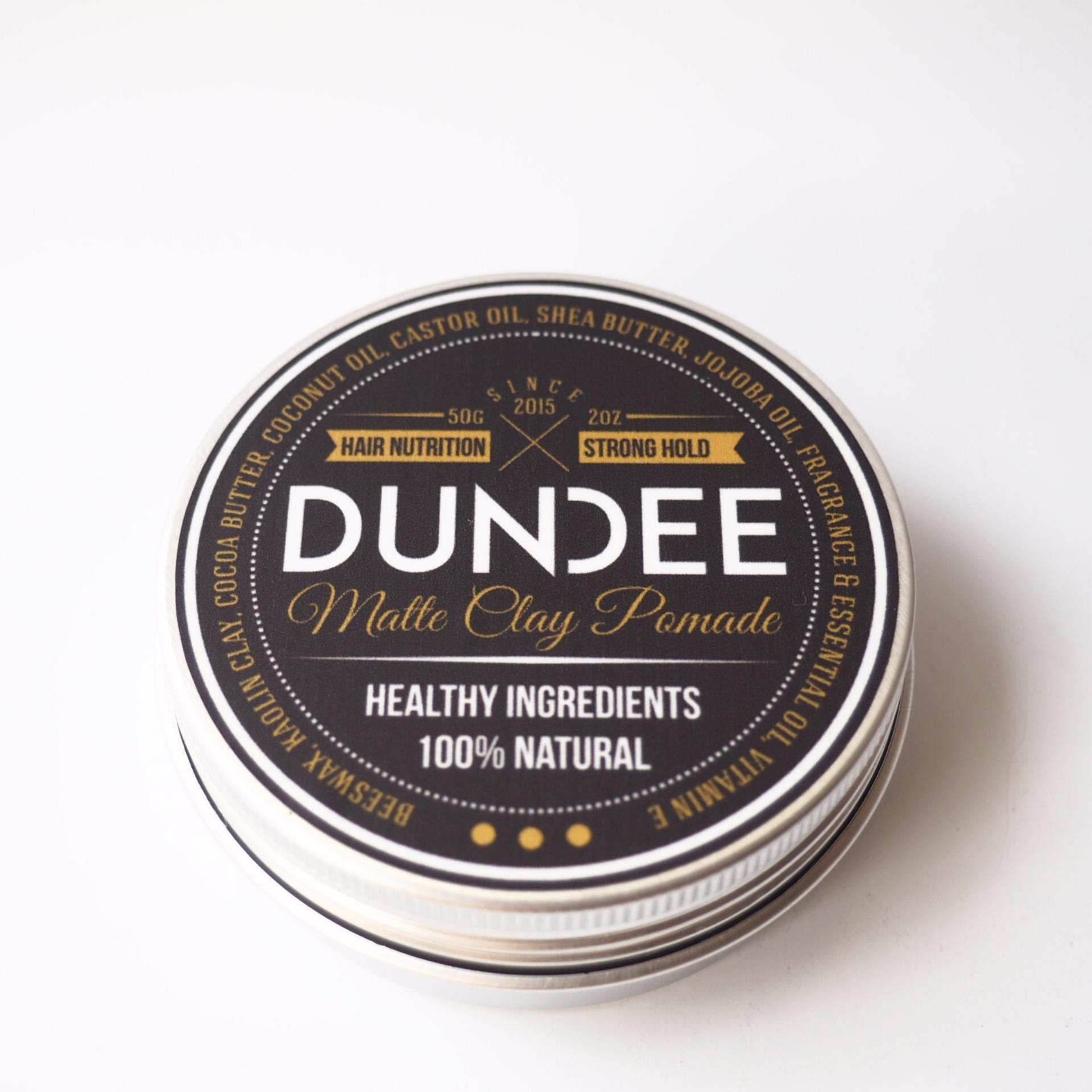 HEMAT..! DUNDEE Matte Clay Pomade – Strong Hold – 50g  100% Natural dan Organik  Sehat untuk rambut  Mencegah kerontokan Terpopuler