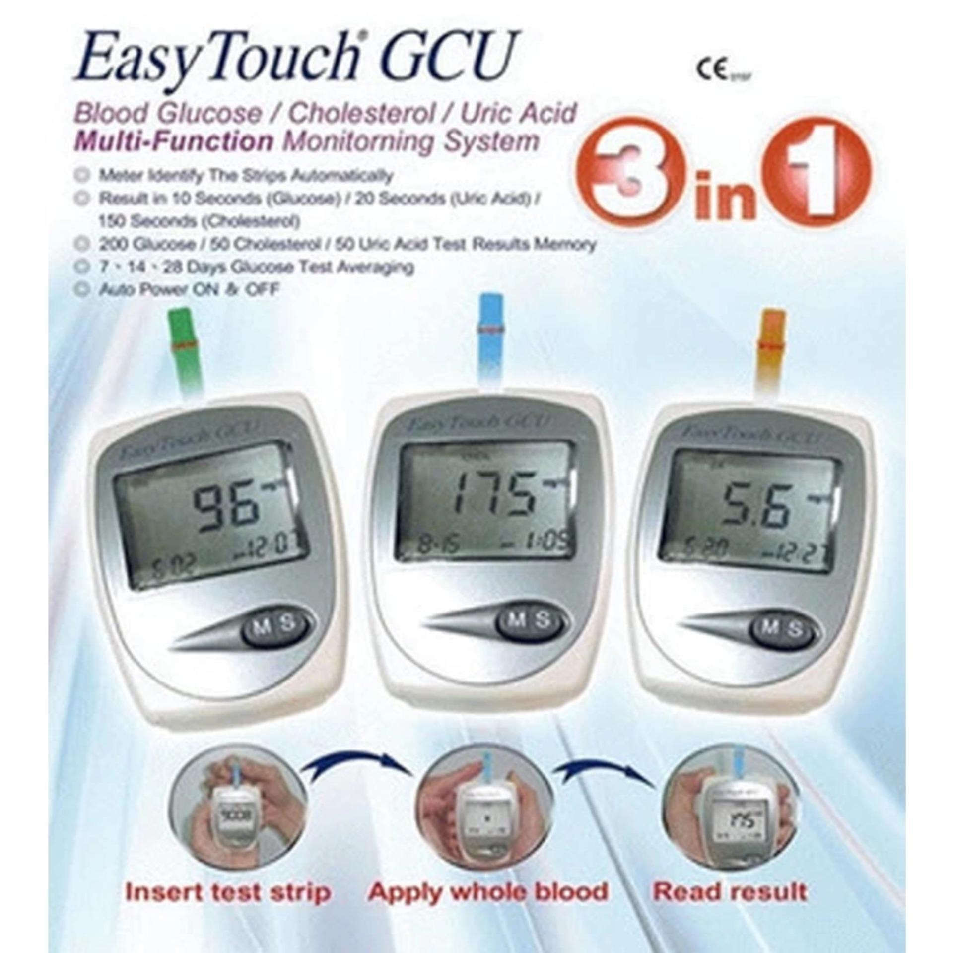 Flash Sale Easy Touch Gcu Meter Alat Cek Tes Kolesterol Asam Urat Strip Gula Glucose Darah 3in1 Putih