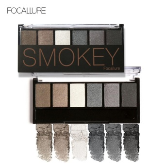 FOCALLURE 6 Colors Cosmetic Shimmer Matte Eyeshadow Palette Long Lasting Smokey Eye Makeup #2 -