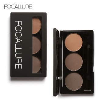 FOCALLURE Long Lasting 3 Colors Waterproof Makeup Eyebrow Powder Palette with Brush #1 - intl