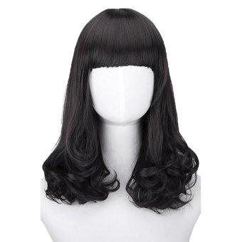 Harga Gracefulvara Wanita Fashion Rambut Keriting Panjang Tahan Panas Kostum Cosplay Coklat Wig Rambut Palsu Penuh (Hitam) Murah
