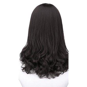 Gracefulvara Wanita Fashion Rambut Keriting Panjang Tahan Panas Kostum Cosplay Coklat Wig Rambut Palsu Penuh (Hitam)