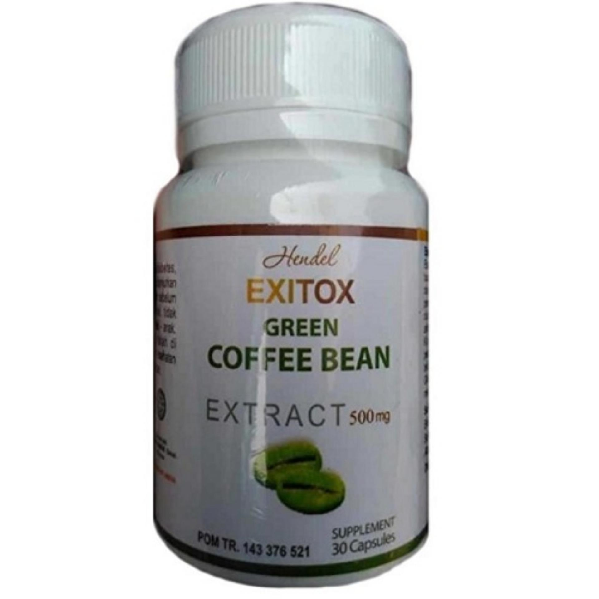Flash Sale Green Coffee Bean Hendel Exitox - 30 kapsul Detox Pelangsing Detoks | Leptin Green Coffee | Murah Agen Grosir