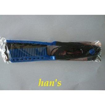 Harga Han's Aksesoris – Sisir Pelurus Rambut Hair Straigtener V Comb dengan daya double – 2 Pcs – Blue Murah