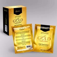 Hanasui Gold Mask Naturgo Peel Off Mask With Extract Peach Anti-Aging BPOM - 1 Box (10 Sachet)