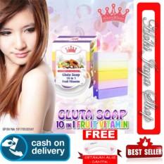 HOKI COD - Gluta Fruitamin Soap By Pretty White Thailand + Vitamin / Sabun Fruitamin ORIGINAL BPOM - 1 Pcs + Cetak Alis Cantik - Premium