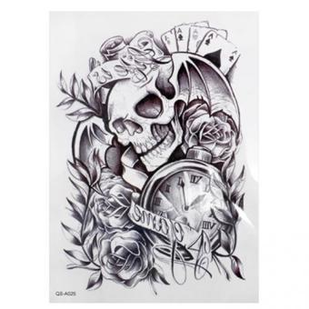 Harga HomeGarden Cool Sexy Tattoo Skull Temporary Body Arm Stickers Black Removable Waterproof Black
