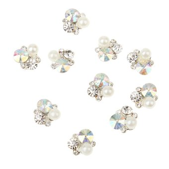 Harga BolehDeals 10pcs 3D Silver Nail Art Decoration Metal Jewelry Glitter Rhinestones