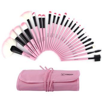 24 buah Vander profesional SCE berwarna merah muda Soft Case tas kantong Superior Set kuas kosmetik