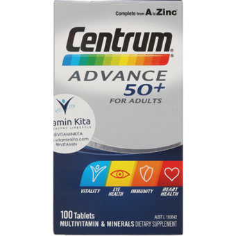 Harga Centrum Advance 50+ for Adult (100Tab)