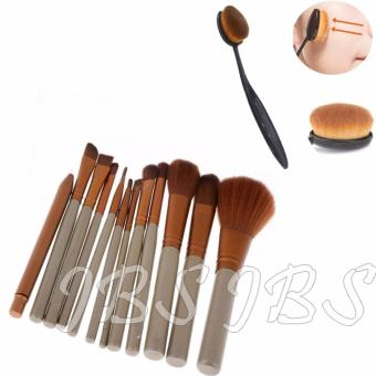 Harga JBS Profesional Kuas 12 kemasan Kaleng N3 Brush Set - 12 Pcs - Kuas Oval - Oval Brush - Oval Brush Foundation